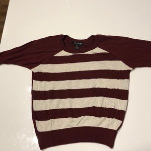 Maroon and off white sweater